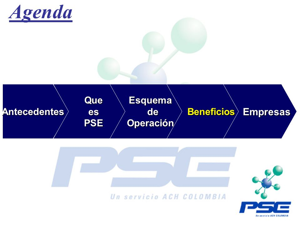 Agenda Empresas Antecedentes Que es PSE Esquema de Operación