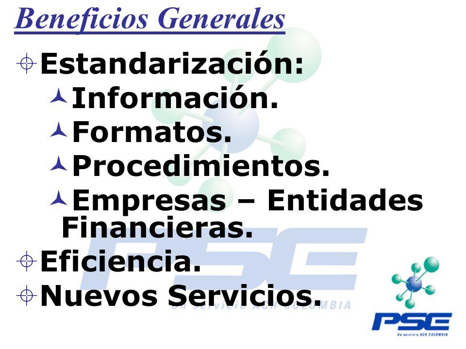 Beneficios Generales Estandarización: Información. Formatos.