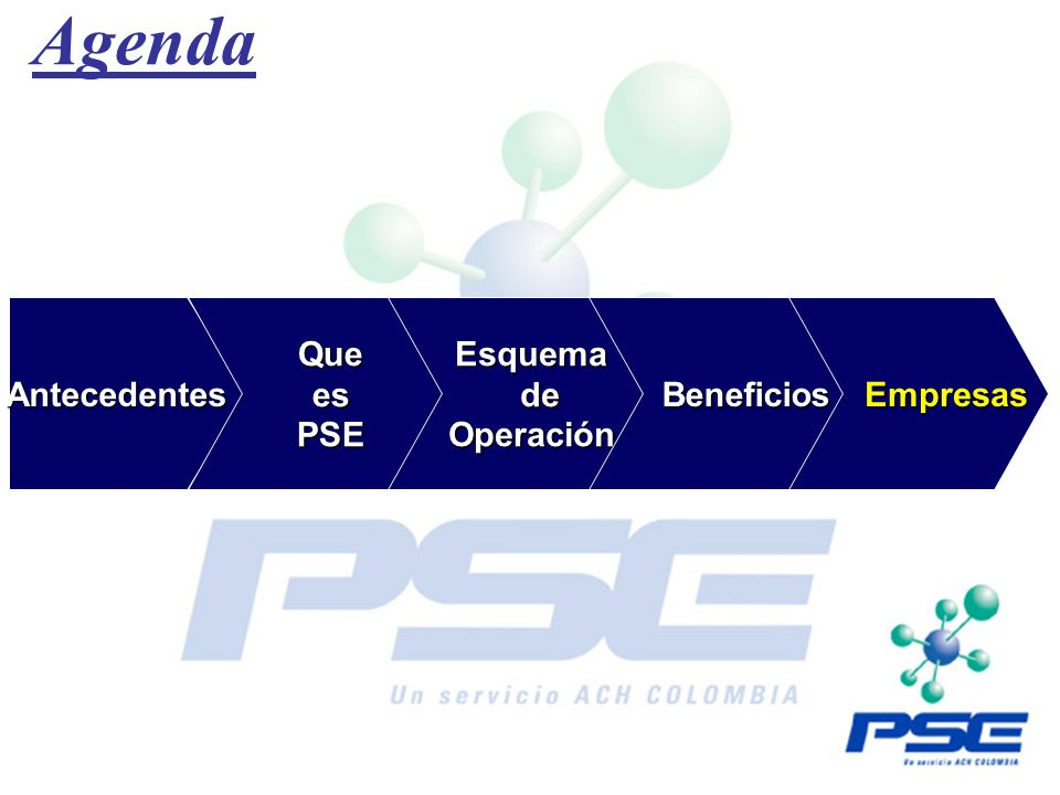 Agenda Antecedentes Que es PSE Esquema de Operación Beneficios