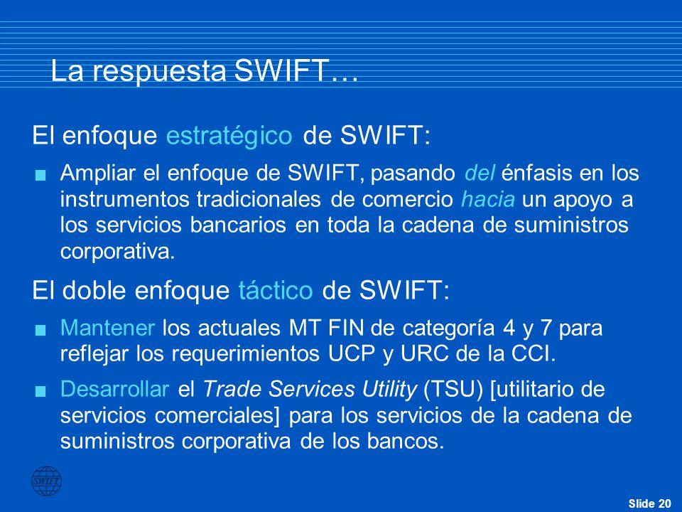 La respuesta SWIFT… El enfoque estratégico de SWIFT: