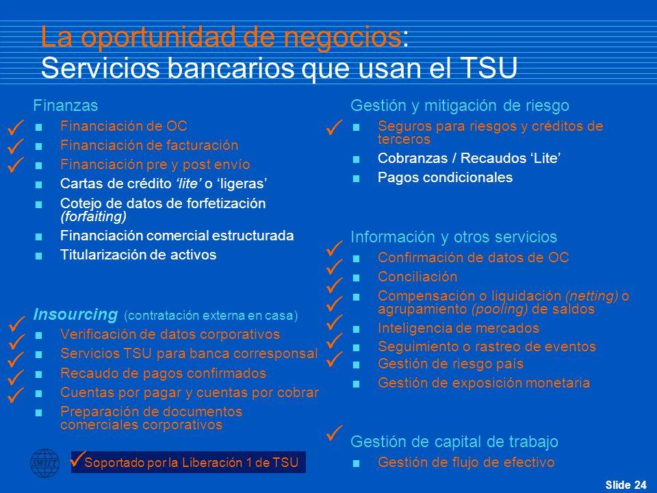 La oportunidad de negocios: Servicios bancarios que usan el TSU
