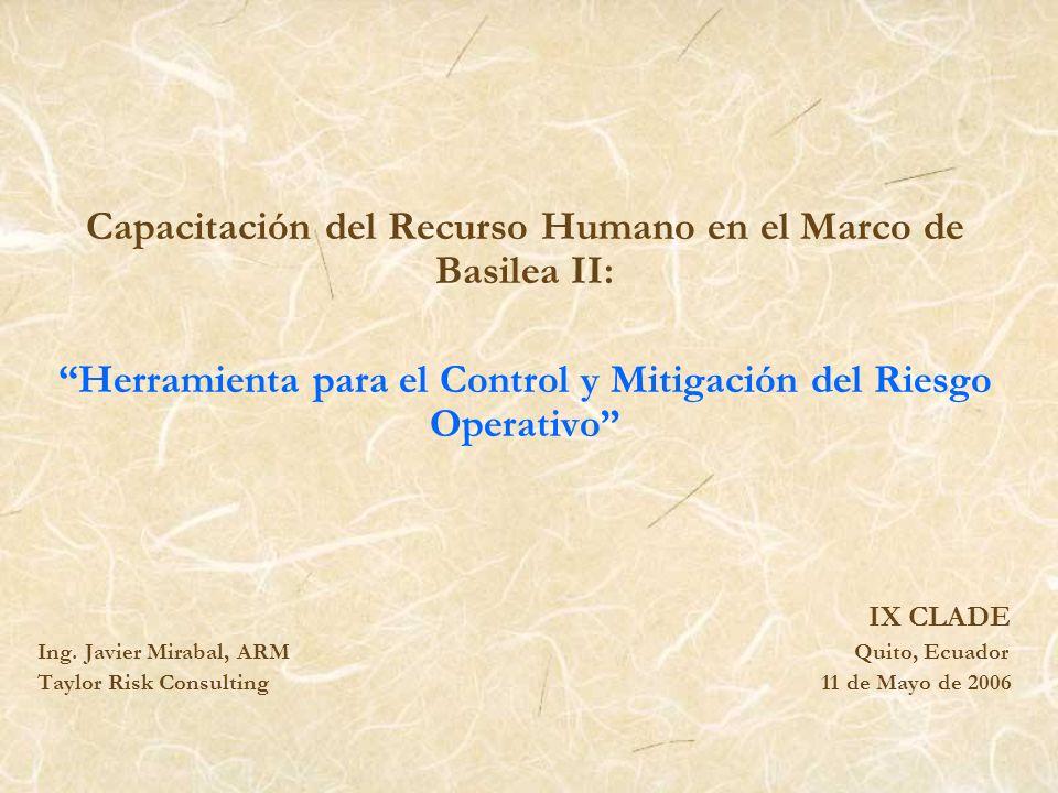 Capacitación del Recurso Humano en el Marco de Basilea II: