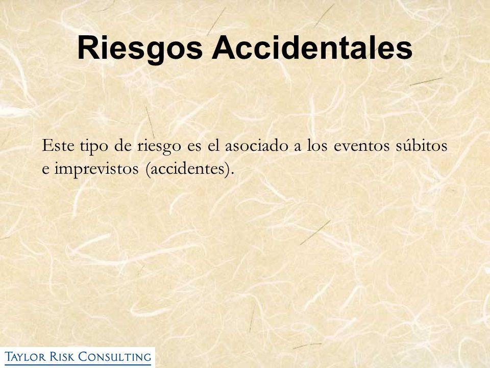 Riesgos Accidentales Este tipo de riesgo es el asociado a los eventos súbitos e imprevistos (accidentes).