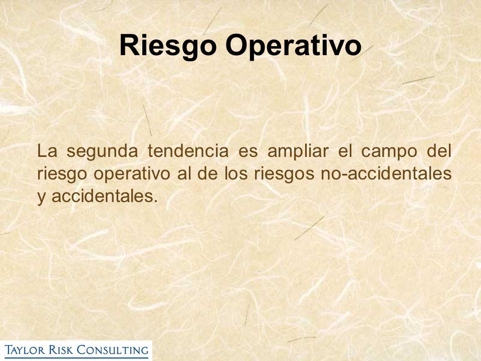 Riesgo Operativo La segunda tendencia es ampliar el campo del riesgo operativo al de los riesgos no-accidentales y accidentales.