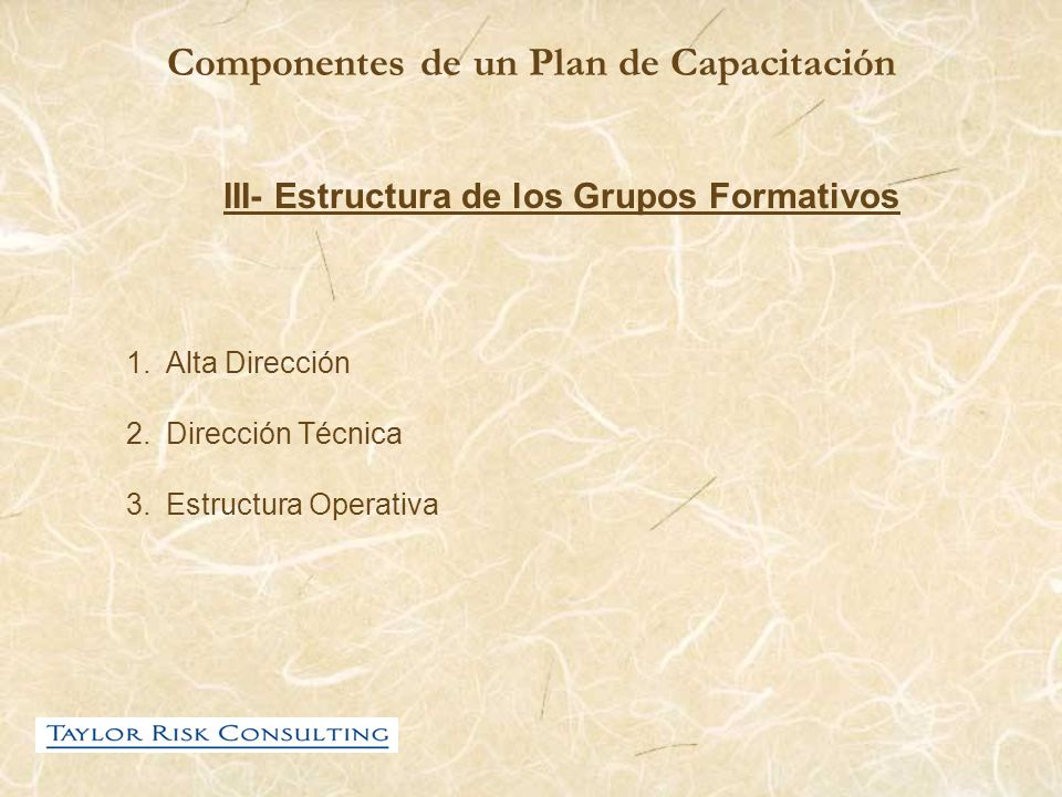 Componentes de un Plan de Capacitación