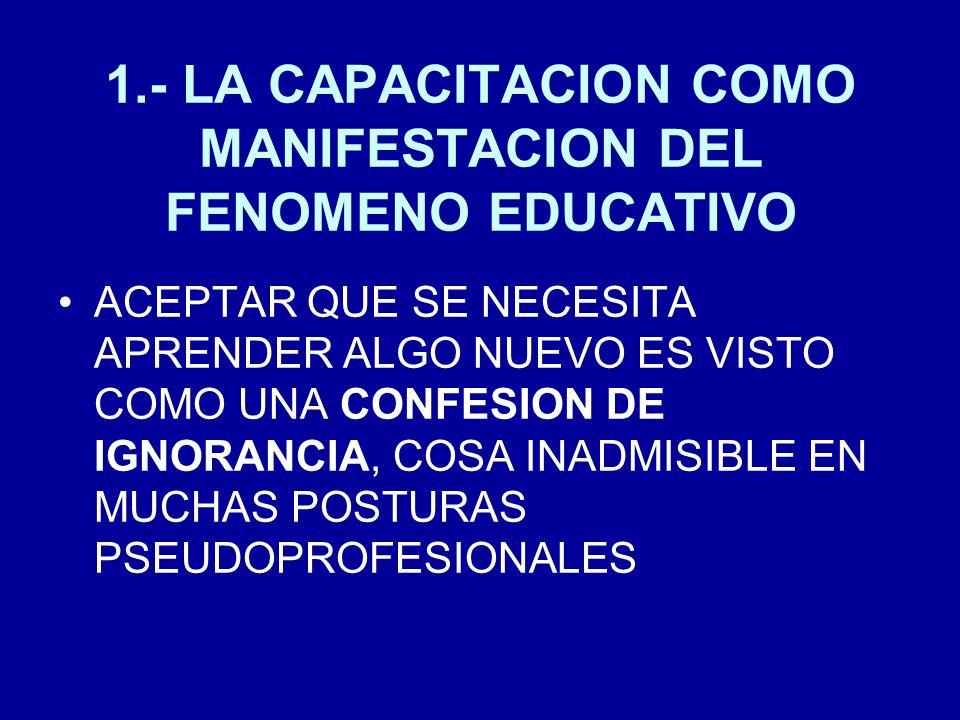 1.- LA CAPACITACION COMO MANIFESTACION DEL FENOMENO EDUCATIVO