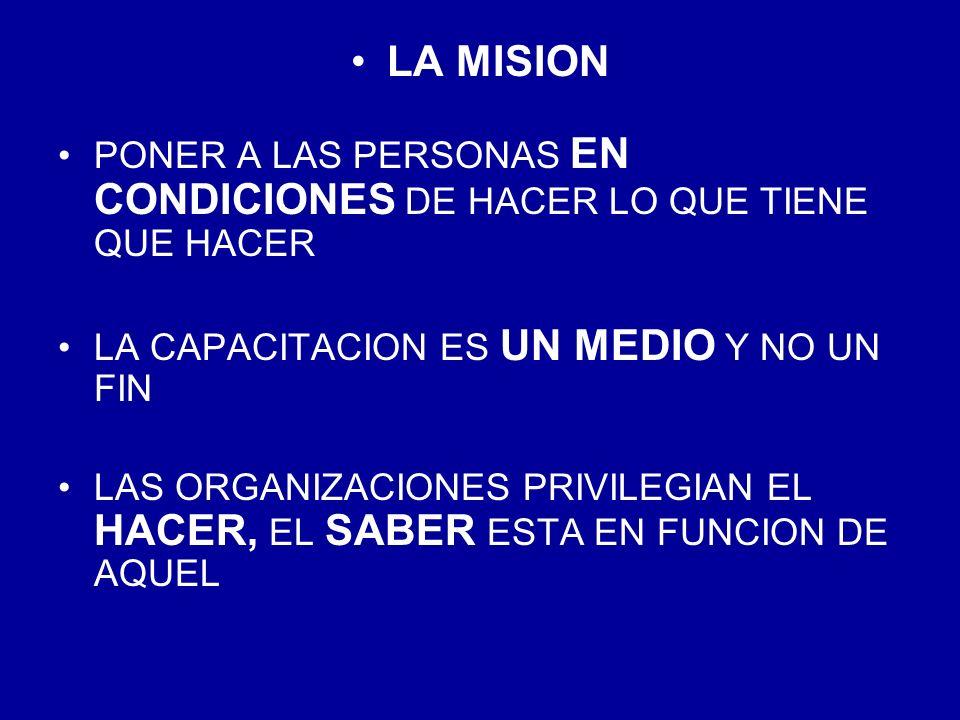 LA MISION PONER A LAS PERSONAS EN CONDICIONES DE HACER LO QUE TIENE QUE HACER. LA CAPACITACION ES UN MEDIO Y NO UN FIN.