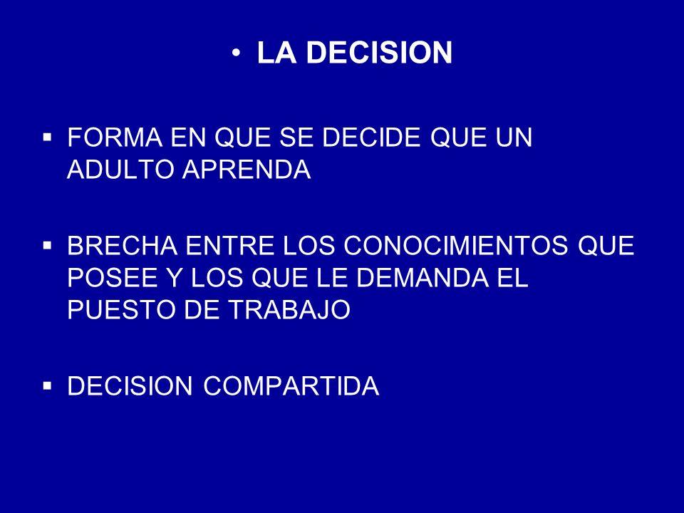 LA DECISION FORMA EN QUE SE DECIDE QUE UN ADULTO APRENDA