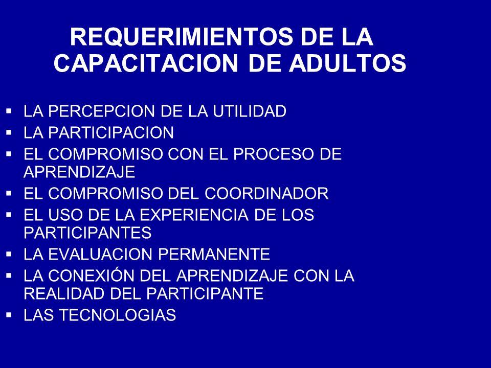 REQUERIMIENTOS DE LA CAPACITACION DE ADULTOS