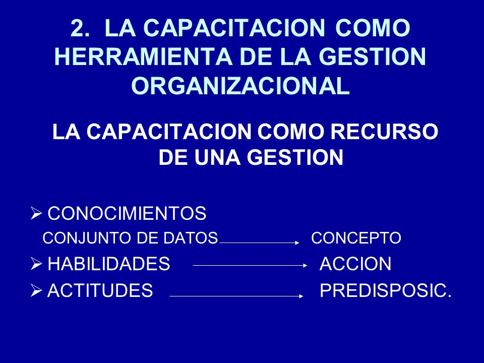 2. LA CAPACITACION COMO HERRAMIENTA DE LA GESTION ORGANIZACIONAL