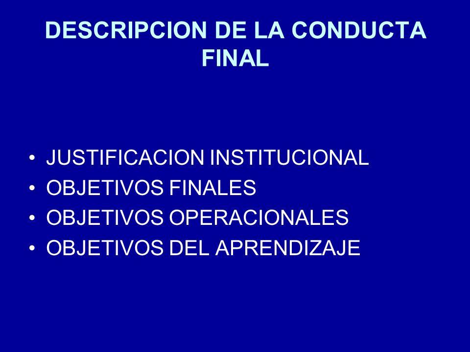 DESCRIPCION DE LA CONDUCTA FINAL