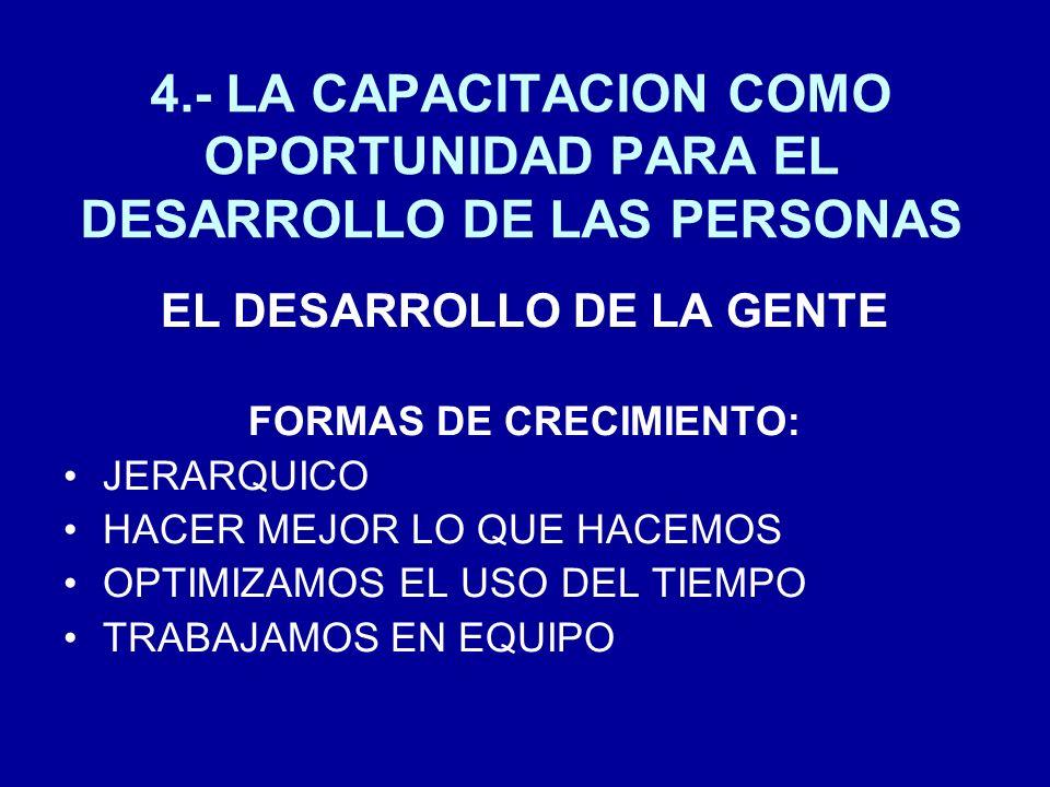 EL DESARROLLO DE LA GENTE FORMAS DE CRECIMIENTO: