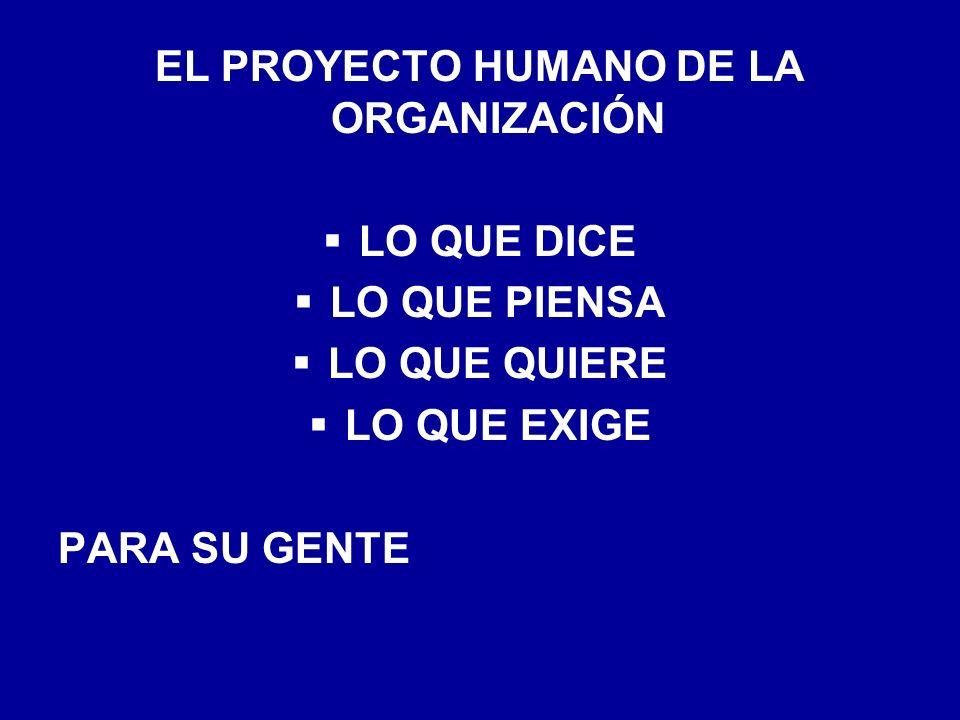 EL PROYECTO HUMANO DE LA ORGANIZACIÓN