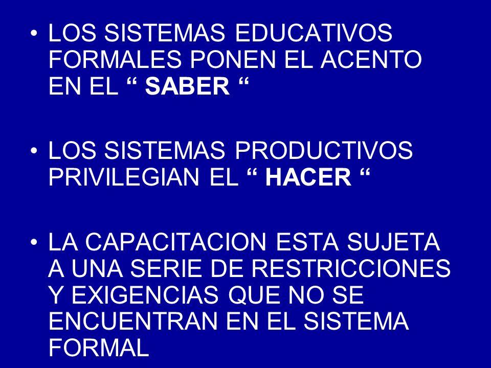 LOS SISTEMAS EDUCATIVOS FORMALES PONEN EL ACENTO EN EL SABER