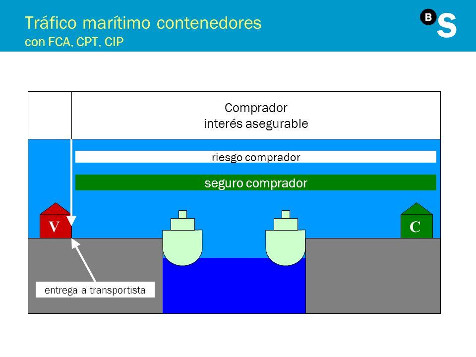 Tráfico marítimo contenedores con FCA, CPT, CIP