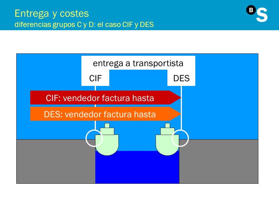 Entrega y costes diferencias grupos C y D: el caso CIF y DES