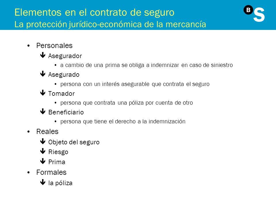 Elementos en el contrato de seguro La protección jurídico-económica de la mercancía