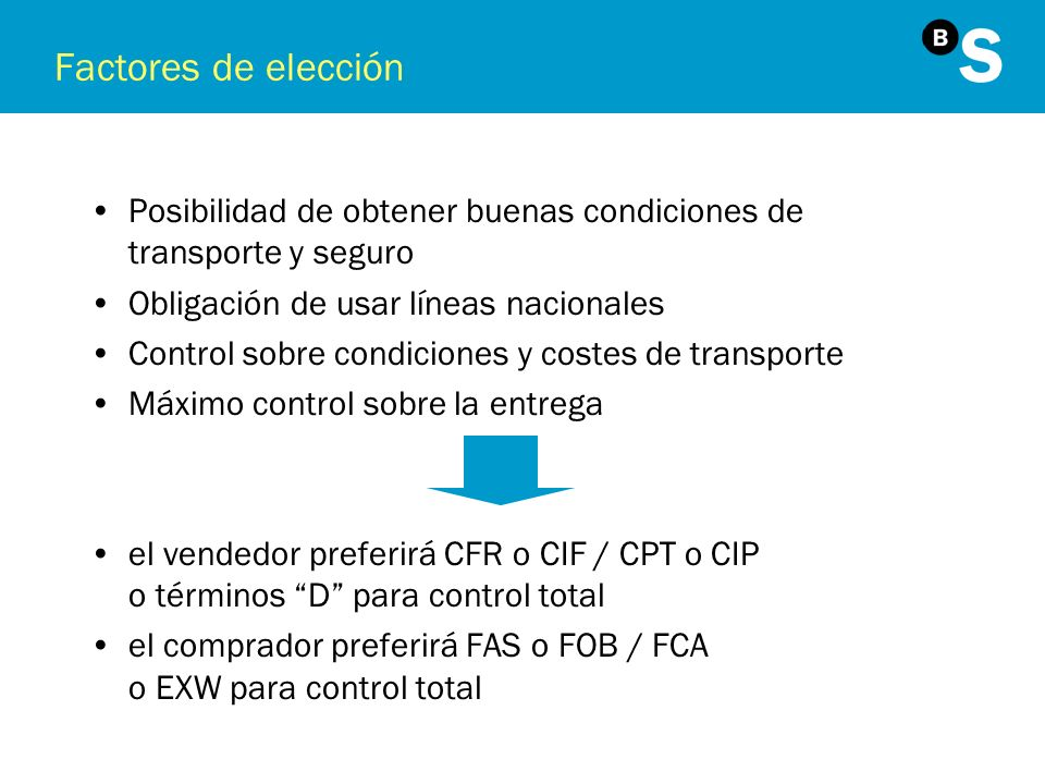 Factores de elecciónPosibilidad de obtener buenas condiciones de transporte y seguro. Obligación de usar líneas nacionales.