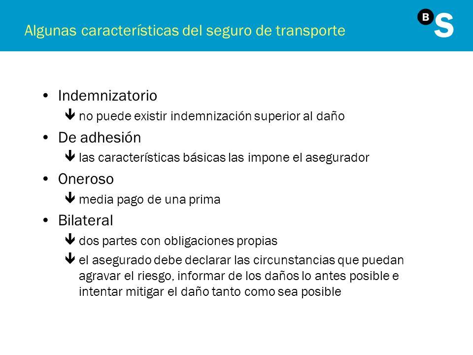 Algunas características del seguro de transporte