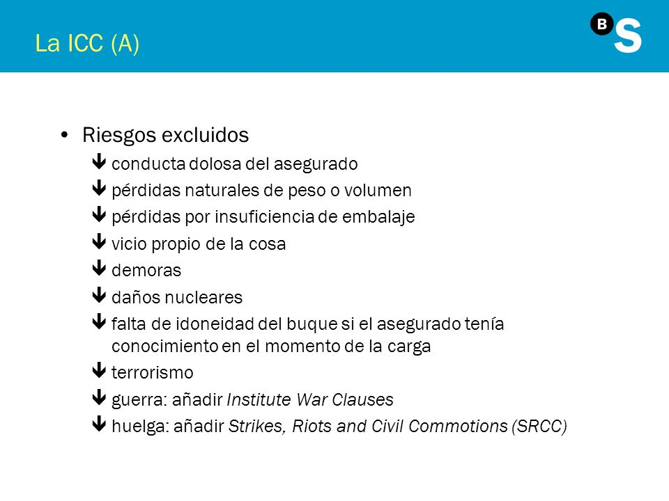 La ICC (A) Riesgos excluidos conducta dolosa del asegurado