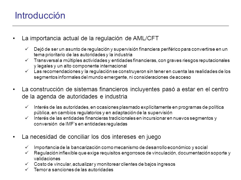 Introducción La importancia actual de la regulación de AML/CFT