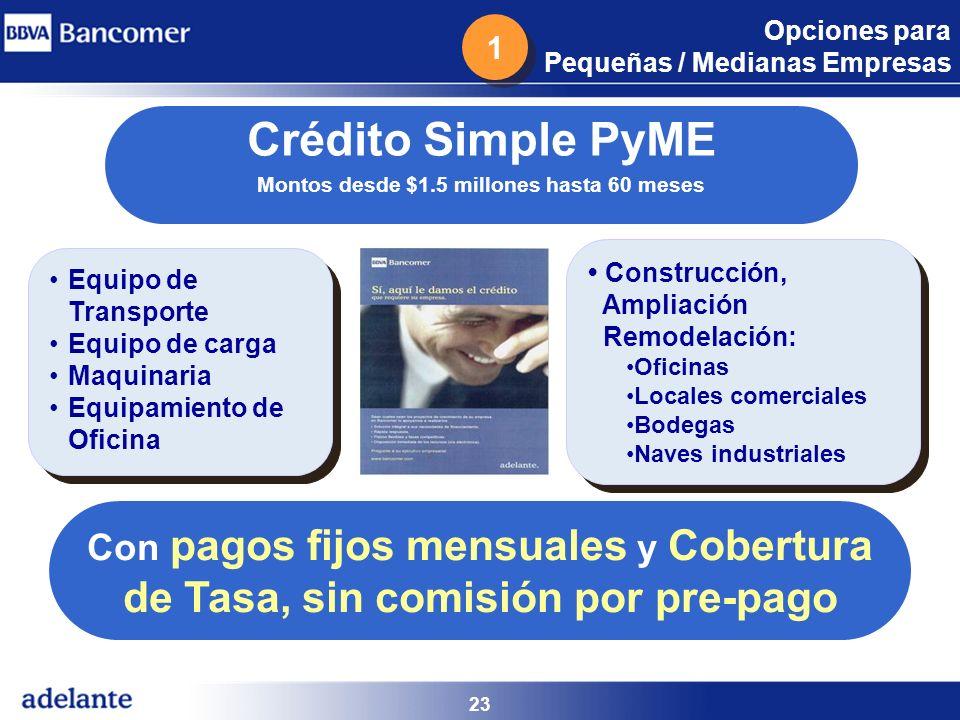 Crédito Simple PyME Montos desde $1.5 millones hasta 60 meses