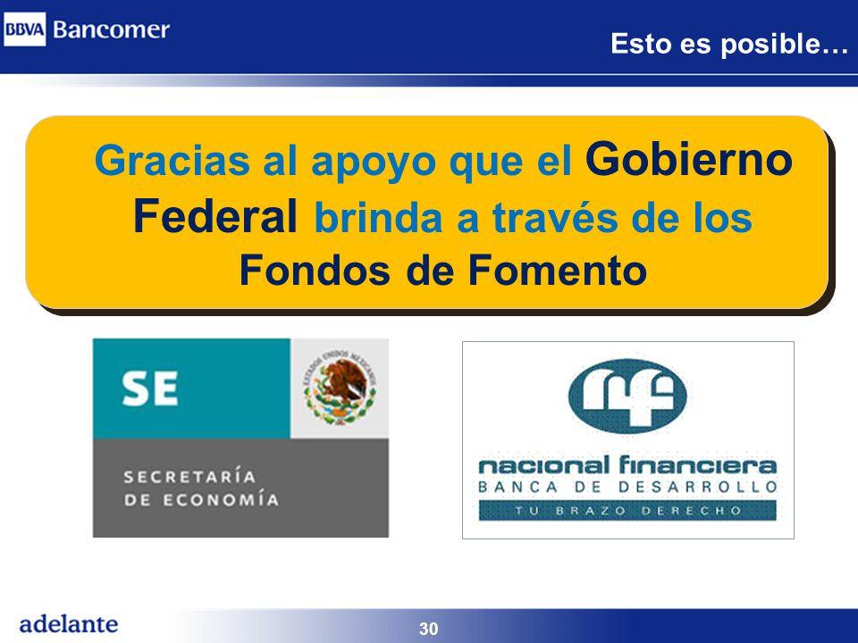 Esto es posible… Gracias al apoyo que el Gobierno Federal brinda a través de los Fondos de Fomento