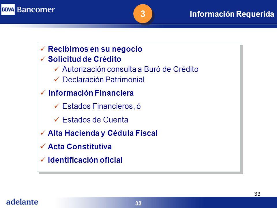 3 Información Requerida Recibirnos en su negocio Solicitud de Crédito
