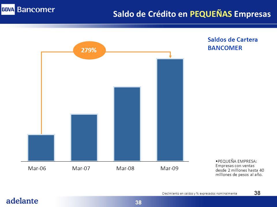 Saldo de Crédito en PEQUEÑAS Empresas