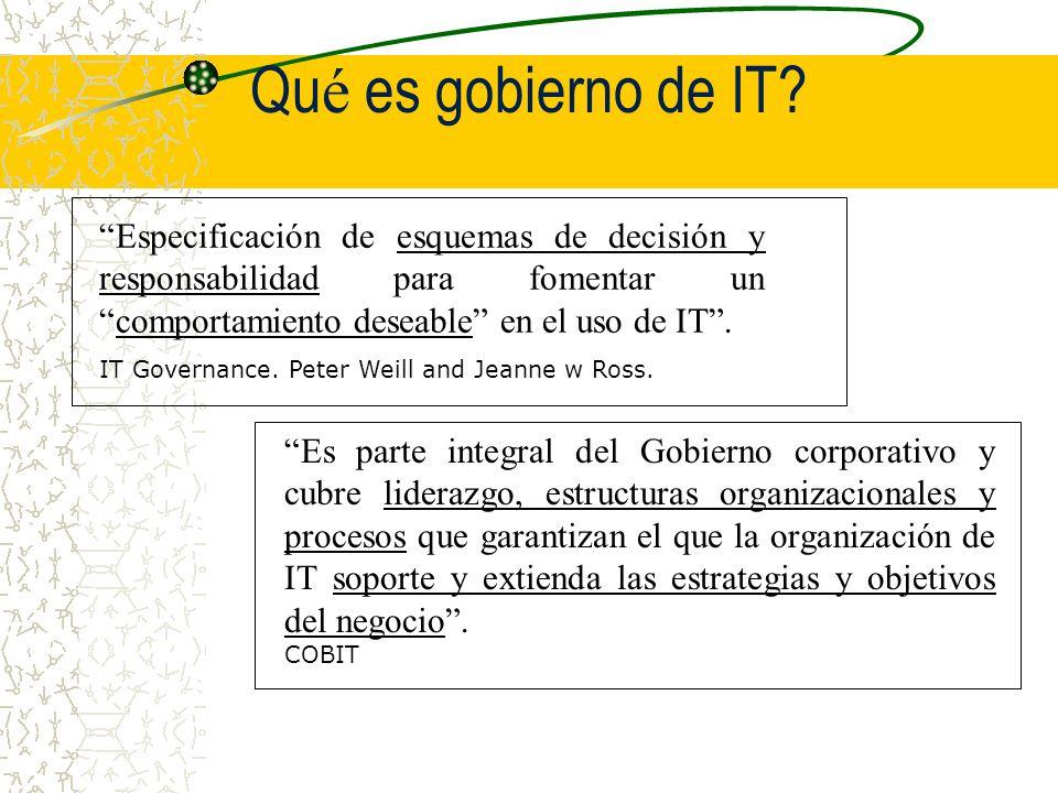 Qué es gobierno de IT Especificación de esquemas de decisión y responsabilidad para fomentar un comportamiento deseable en el uso de IT .