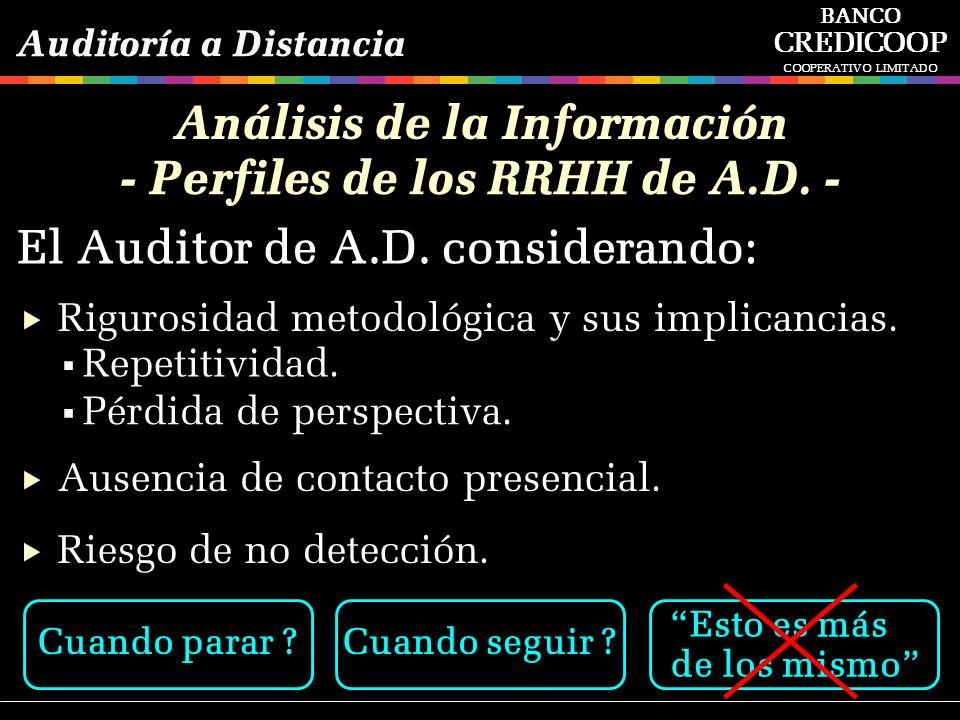 Análisis de la Información - Perfiles de los RRHH de A.D. -