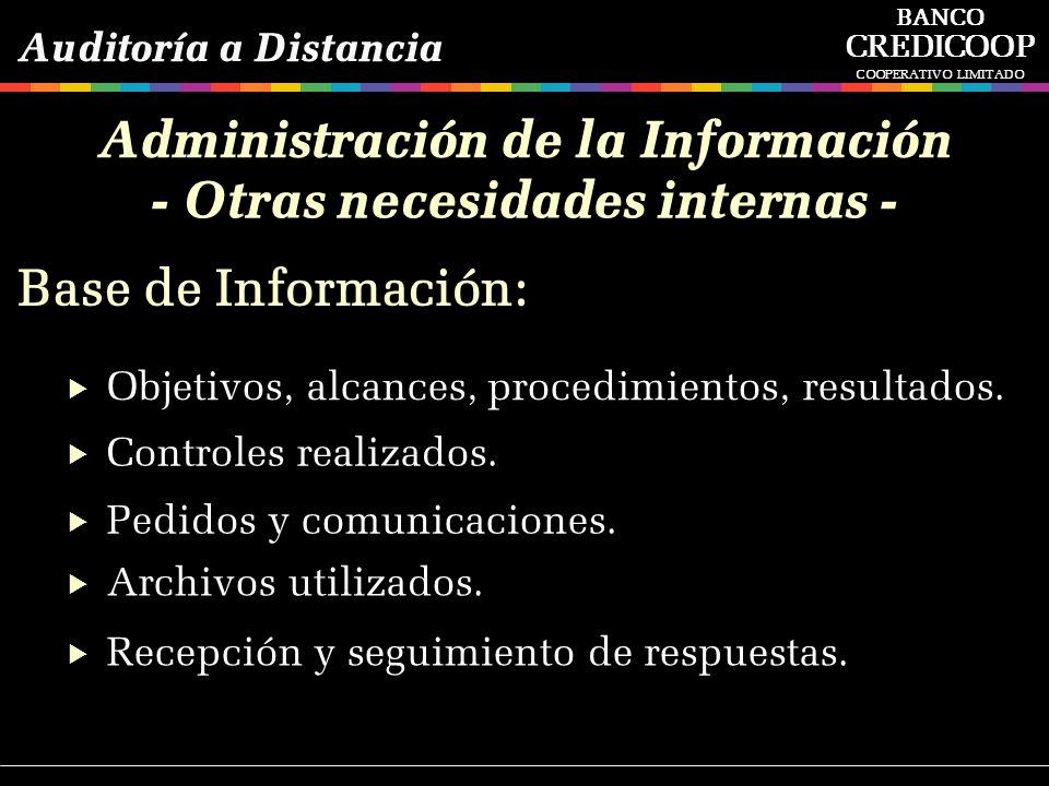 Administración de la Información - Otras necesidades internas -