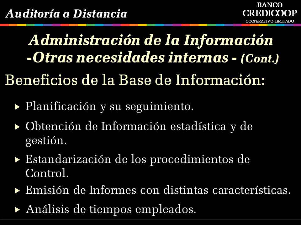 Administración de la Información -Otras necesidades internas - (Cont.)