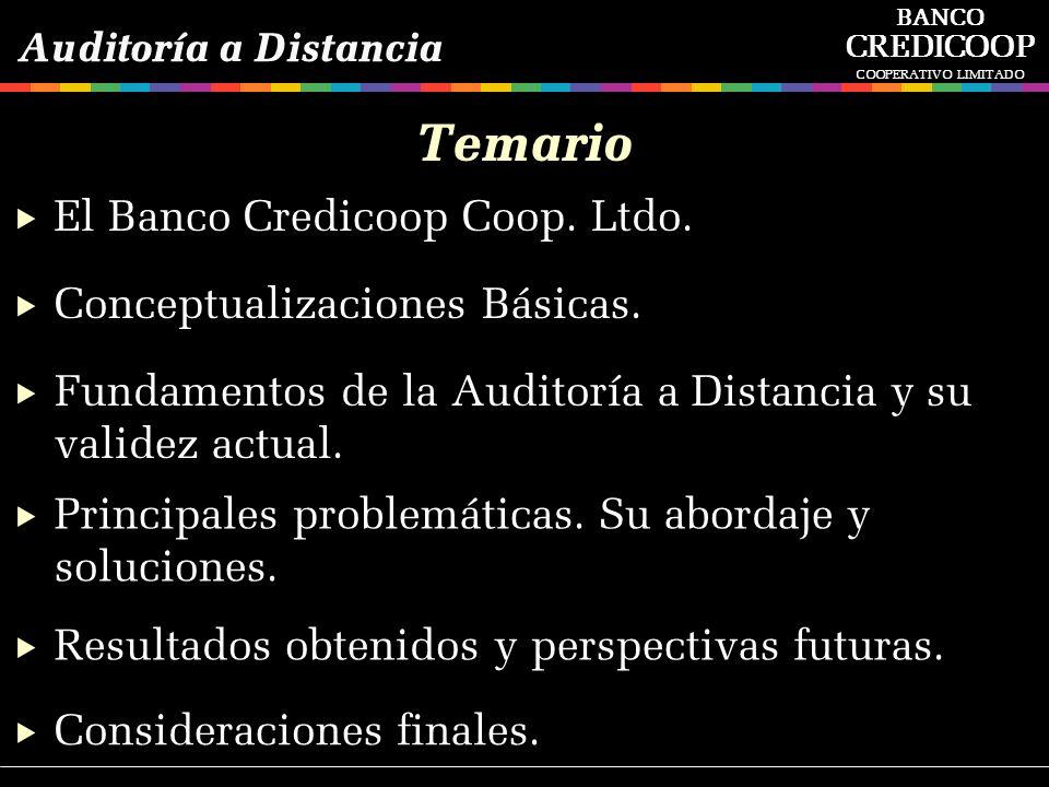 Temario El Banco Credicoop Coop. Ltdo. Conceptualizaciones Básicas.