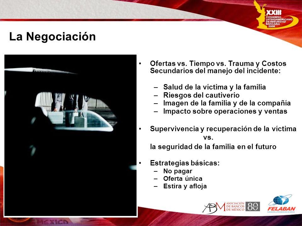 La Negociación Ofertas vs. Tiempo vs. Trauma y Costos Secundarios del manejo del incidente: Salud de la víctima y la familia.