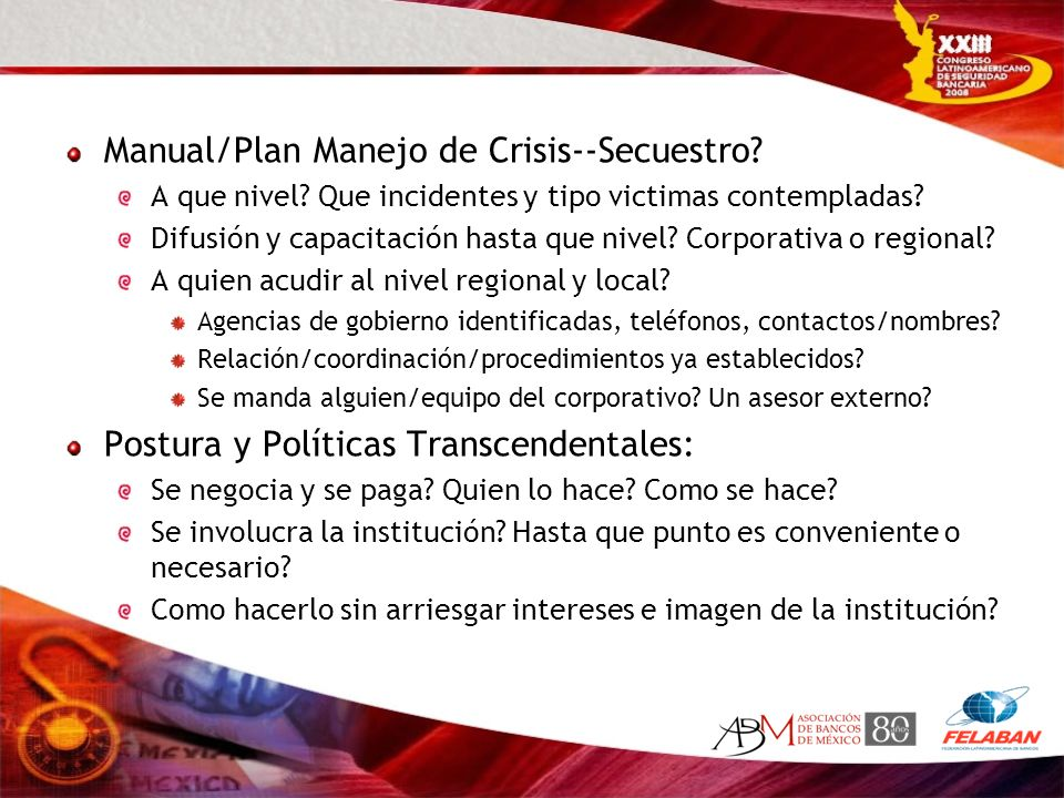 Manual/Plan Manejo de Crisis--Secuestro
