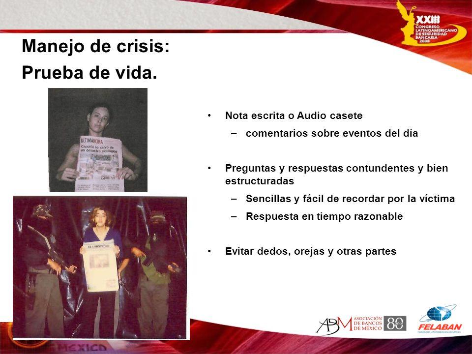 Manejo de crisis: Prueba de vida. Nota escrita o Audio casete