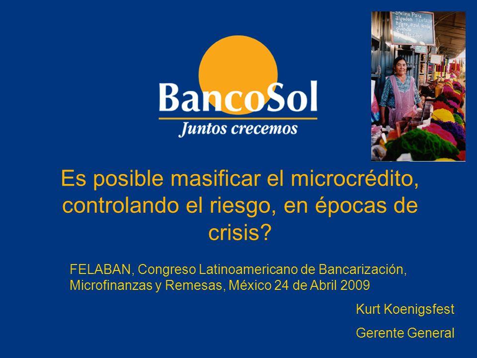 Es posible masificar el microcrédito, controlando el riesgo, en épocas de crisis