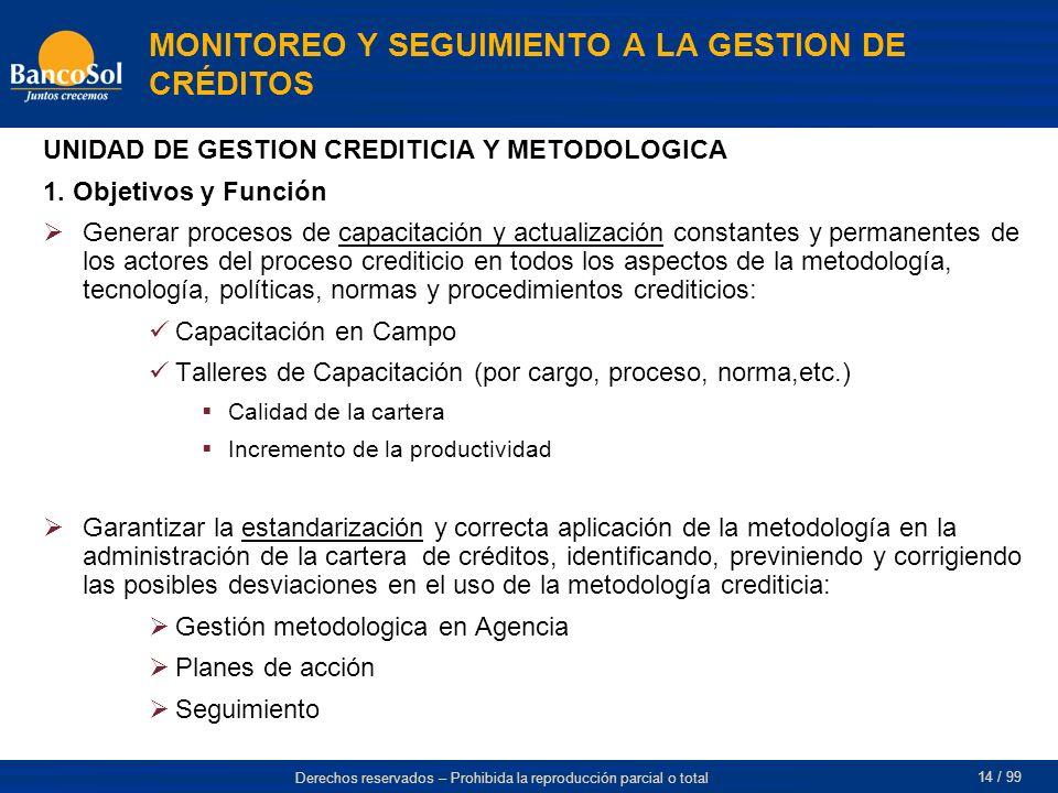 MONITOREO Y SEGUIMIENTO A LA GESTION DE CRÉDITOS