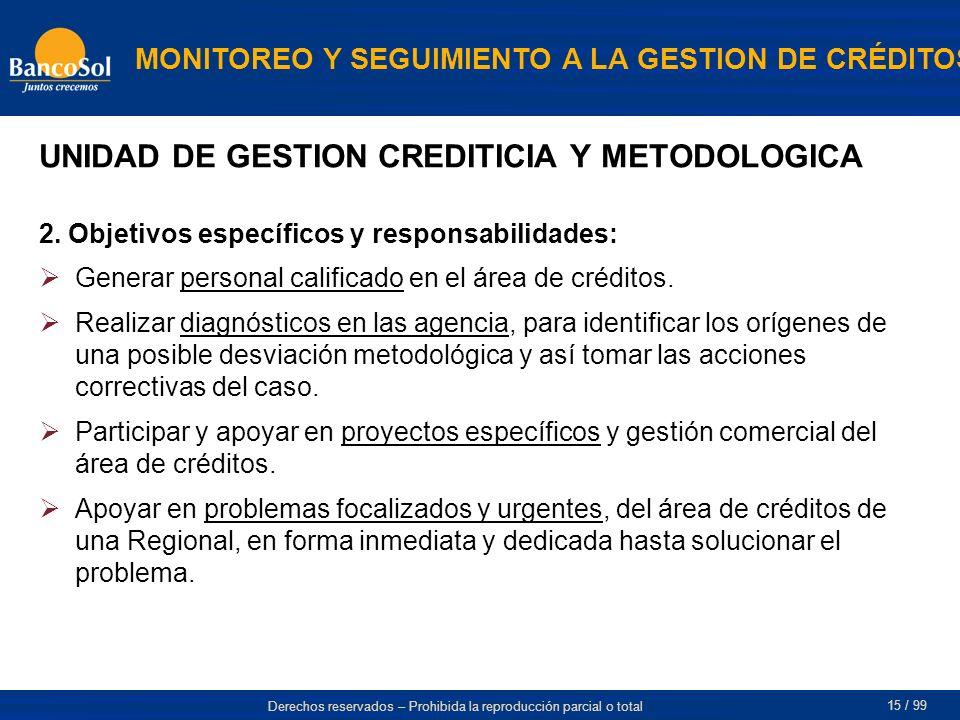 UNIDAD DE GESTION CREDITICIA Y METODOLOGICA