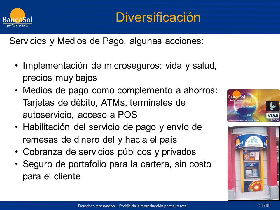 Diversificación Servicios y Medios de Pago, algunas acciones: