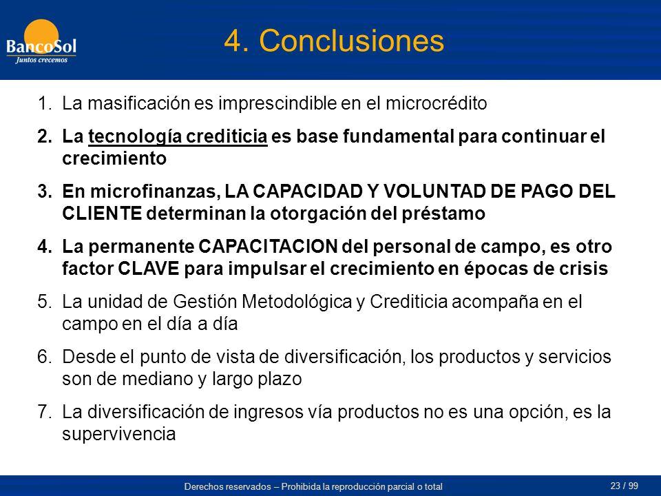 4. Conclusiones La masificación es imprescindible en el microcrédito
