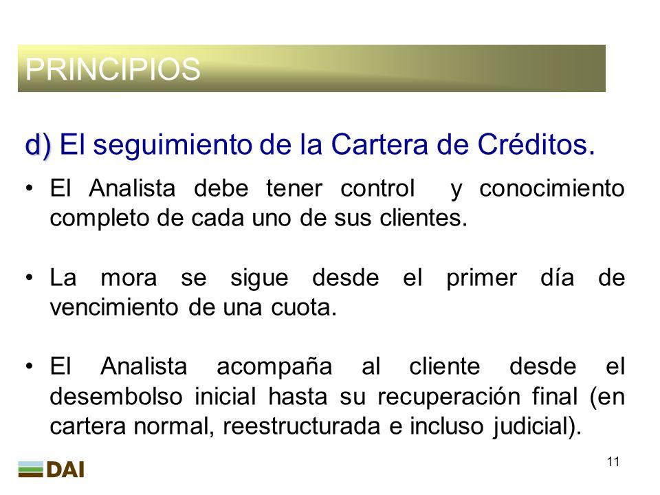 PRINCIPIOS d) El seguimiento de la Cartera de Créditos.