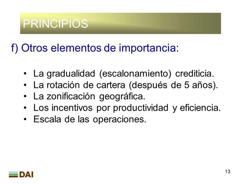 PRINCIPIOS f) Otros elementos de importancia: