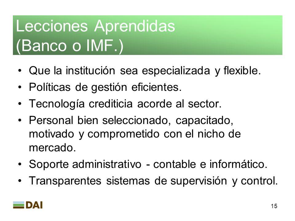 Lecciones Aprendidas (Banco o IMF.)