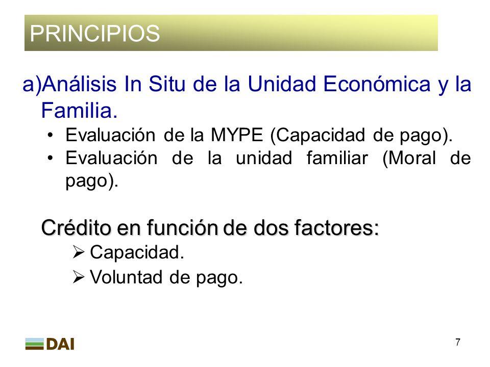 PRINCIPIOS Análisis In Situ de la Unidad Económica y la Familia.