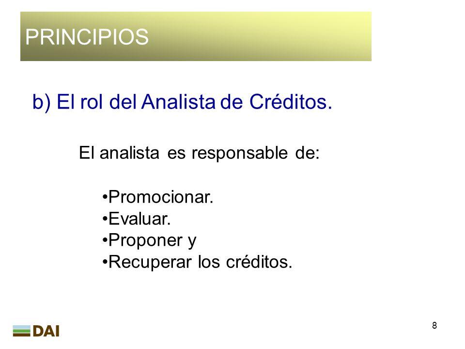 PRINCIPIOS b) El rol del Analista de Créditos.