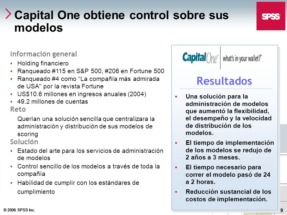 Capital One obtiene control sobre sus modelos