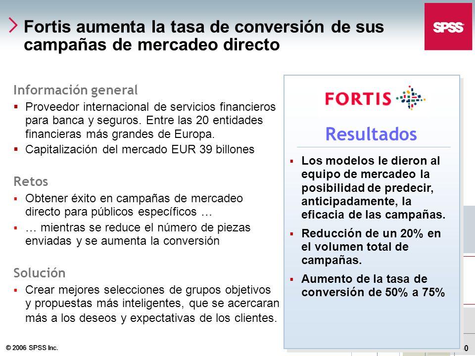 SPSS Inc.Fortis aumenta la tasa de conversión de sus campañas de mercadeo directo. Información general.