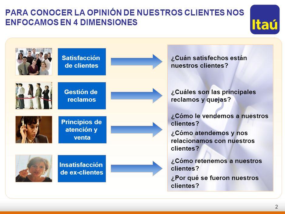 RJO-AAA123-20060821-PARA CONOCER LA OPINIÓN DE NUESTROS CLIENTES NOS ENFOCAMOS EN 4 DIMENSIONES. Satisfacción.